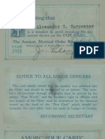 1931 AMORC Membership and Dues Card