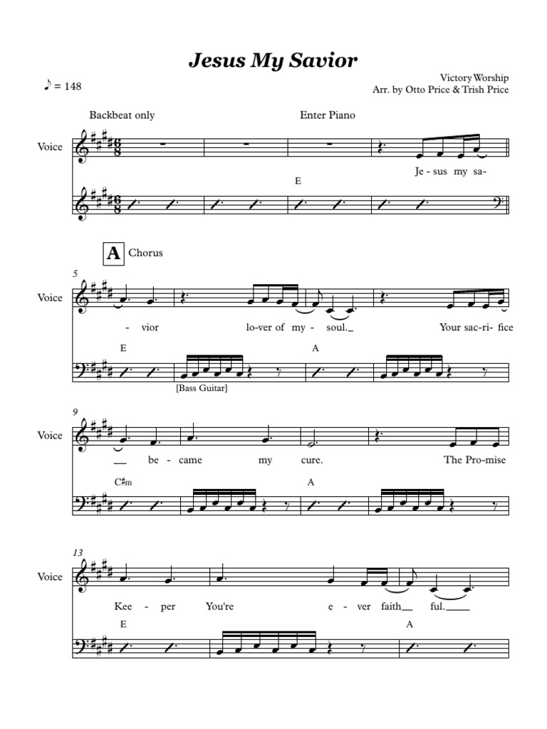 Jesus My Savior Victory Worship Music Sheet