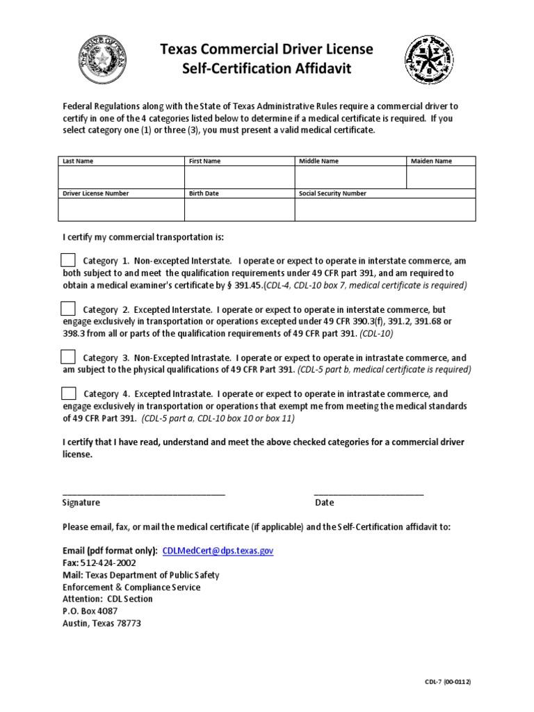 Texas cdl self certification affidavit cdl 7 government texas cdl self certification affidavit cdl 7 government information politics 1betcityfo Choice Image