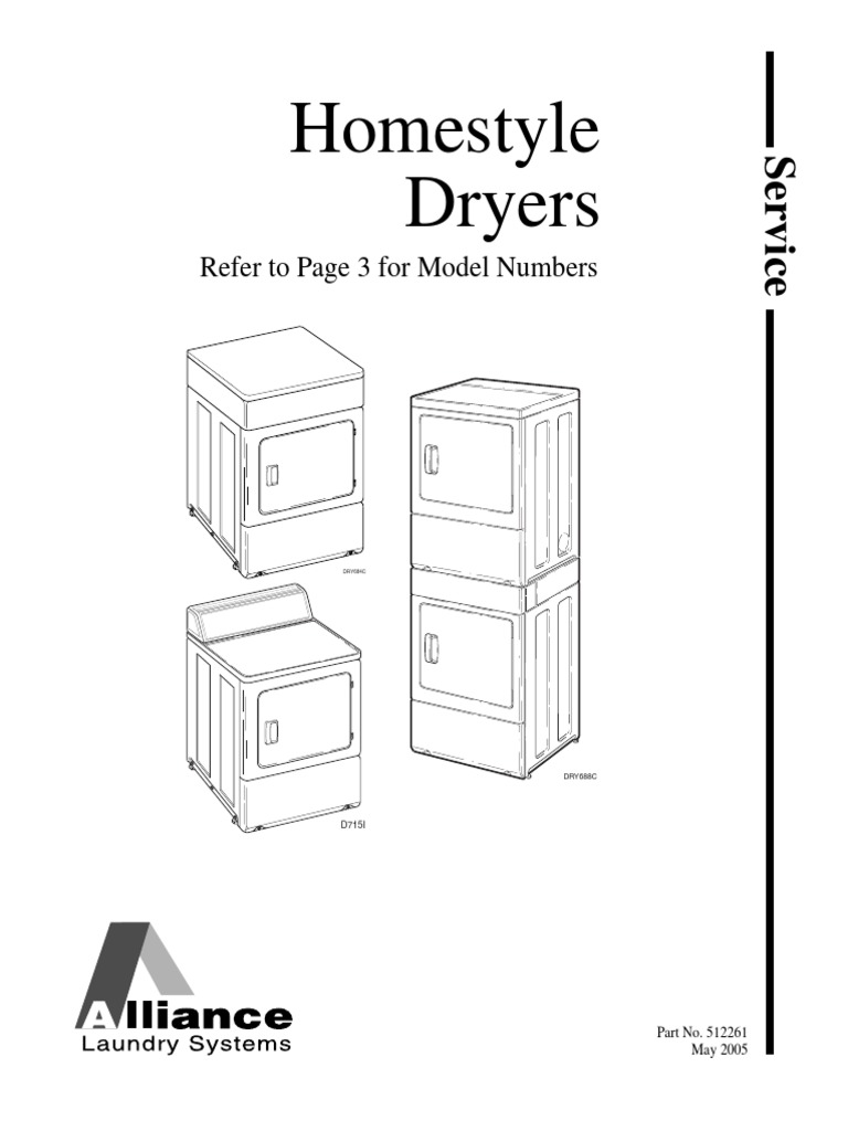 Speed Queen Dryer Service Manual 512261-Alliance-Homestyle