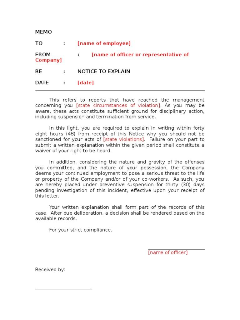 Notice to explain template with preventive suspension altavistaventures Gallery