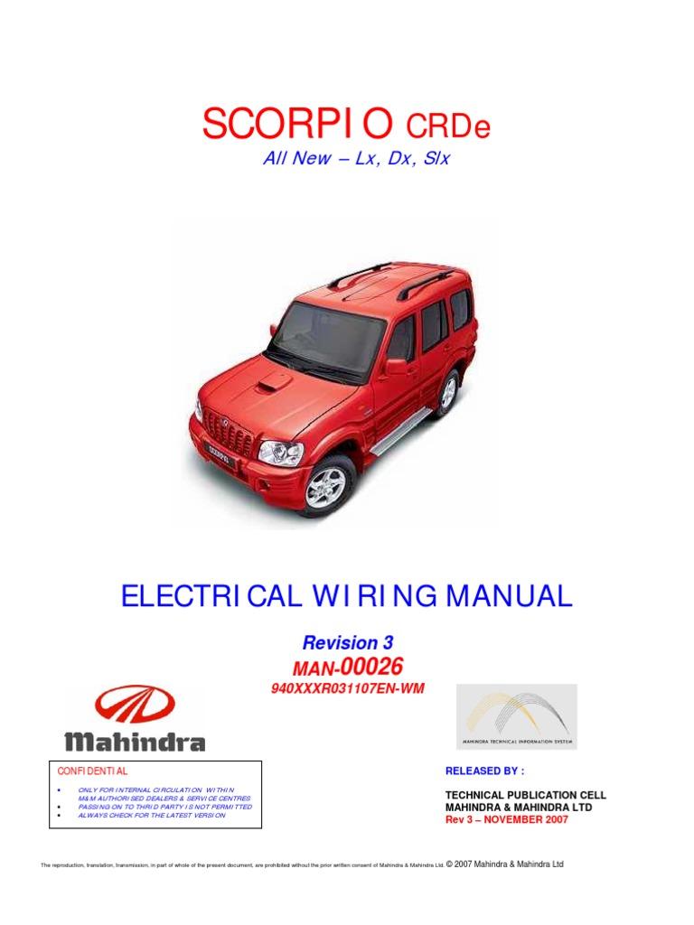 scorpio crde wiring manual rev3 reduced rh scribd com mahindra scorpio vlx owners manual pdf mahindra scorpio mhawk owners manual