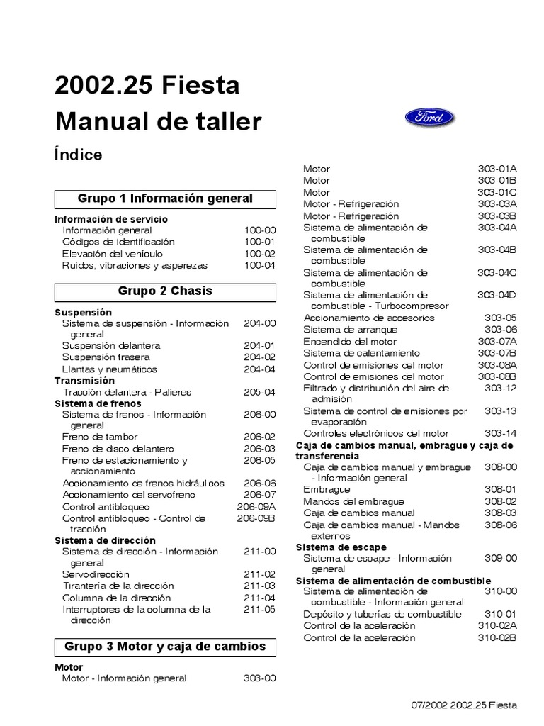 manual ford fiesta motor 1 6. Black Bedroom Furniture Sets. Home Design Ideas
