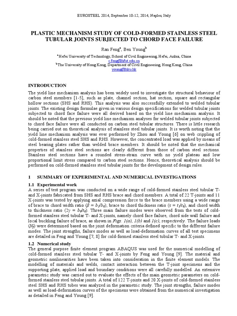 PLASTIC MECHANISM STUDY OF COLD-FORMED STAINLESS STEEL - Strength Of Materials - Yield (Engineering) - 웹