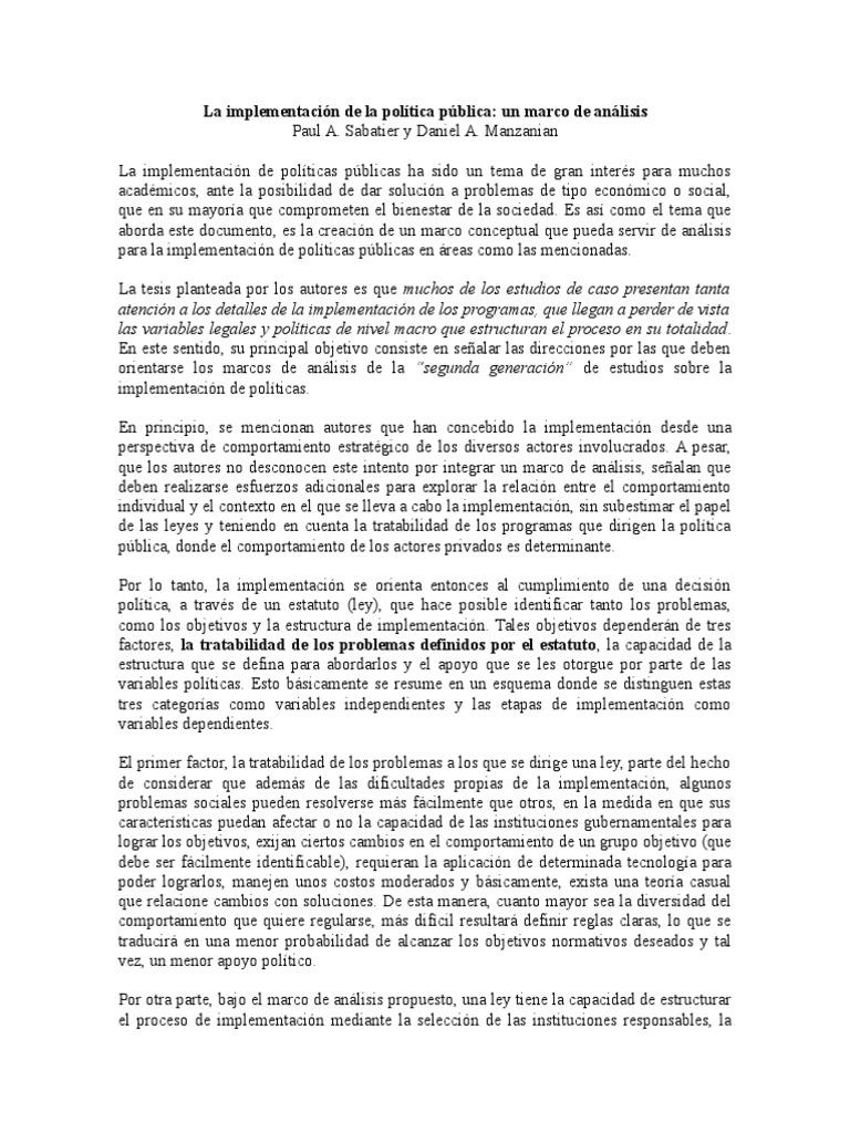 Reseña La Implementación de La Política Pública Un Marco de Análisis ...