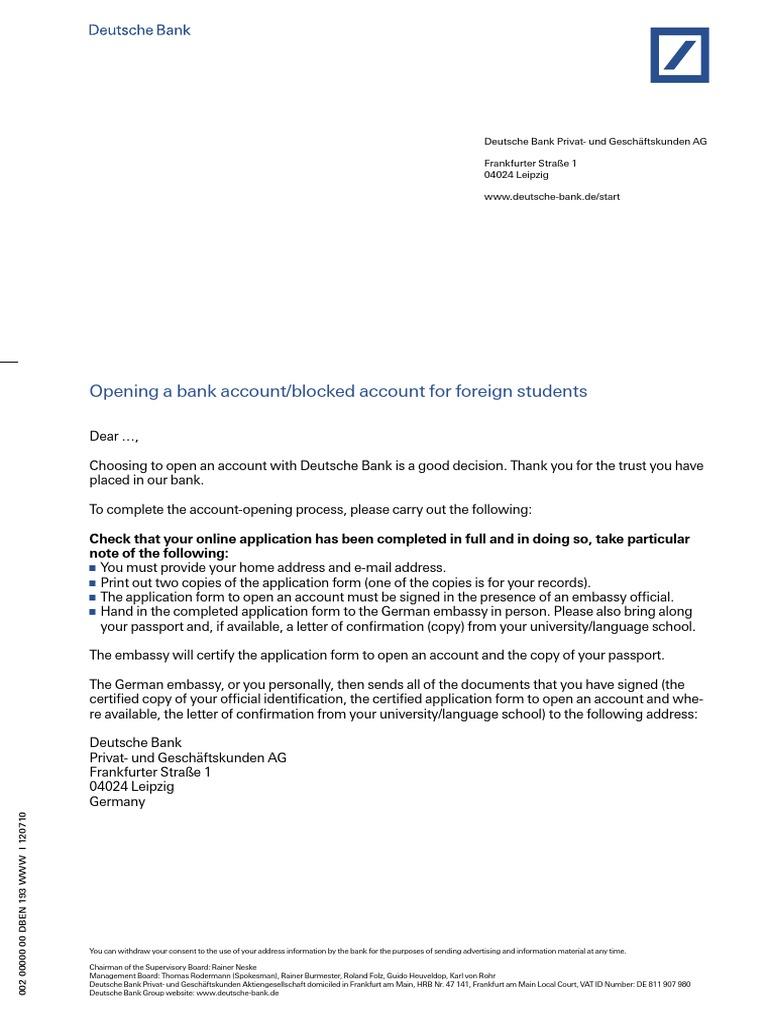 deutsche bank application form questions