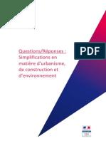 Foire aux questions - Simplifications en matière d'urbanisme de construction et d'environnement