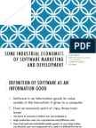 Some Industrial Economics of Software Marketing and Development