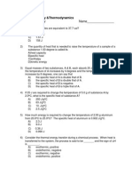 Thermodynamics Multiple Choice-2011!11!17