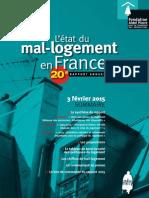20e Rapport sur l'état du mal-logement en France 2015