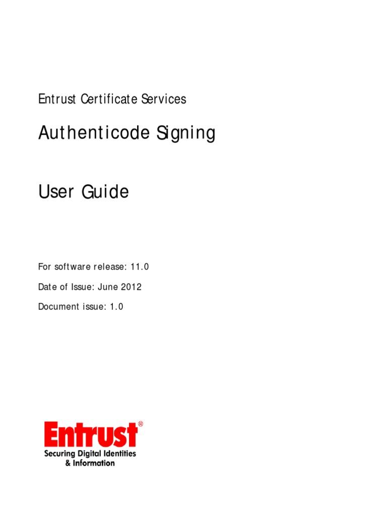 Authenticode Signing User Guide Public Key Certificate Public