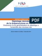 Rapport Dorientation Depistage Neonatal de La Drepanocytose en France