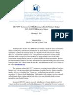 HCFANY Testimony for Public Hearing on Health/Medicaid Budget 2015-2016 NYS Executive Budget