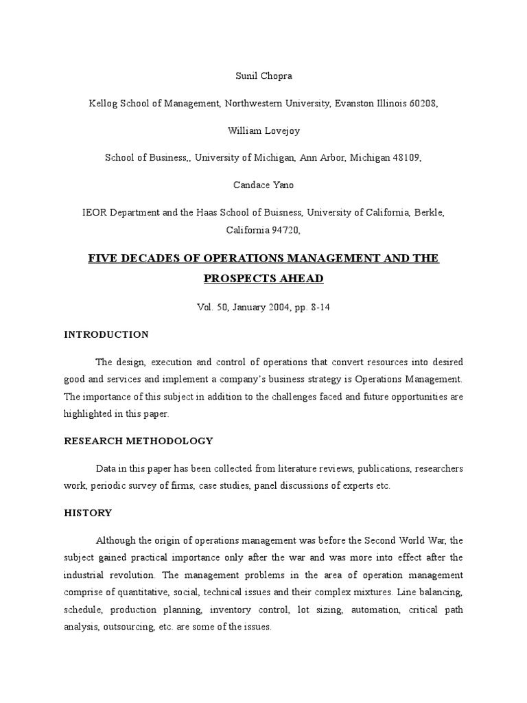 Research Review Operations Management Supply Chain Management