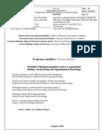 Programa Psihologia Grupului -Organizatiei