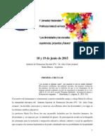 Primeras Jornadas Nacionales Profesora María Eva Rossi - 18 y 19 de Junio 2015
