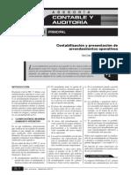 B Contabilización y Presentación de Arrendamientos Operativos