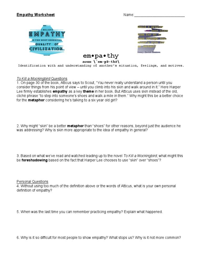 Empathy Worksheet | To Kill A Mockingbird | Empathy
