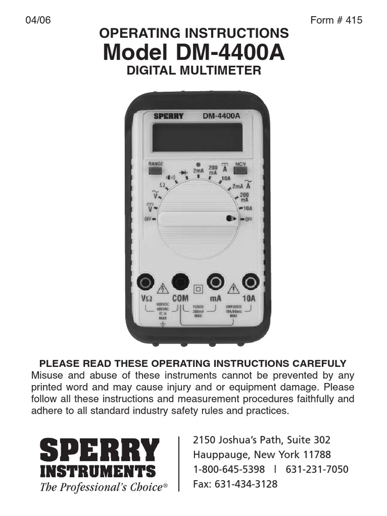 Sperry Instruments Multimeter Manual Power Supply Switch