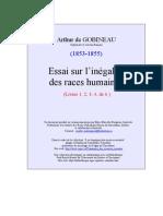 Gobineau Comte de Joseph Arthur Essai Sur l Inegalite Des Races Tome I a IV