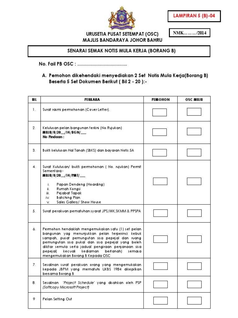 Senarai Semak Notis Mula Kerja Borang B