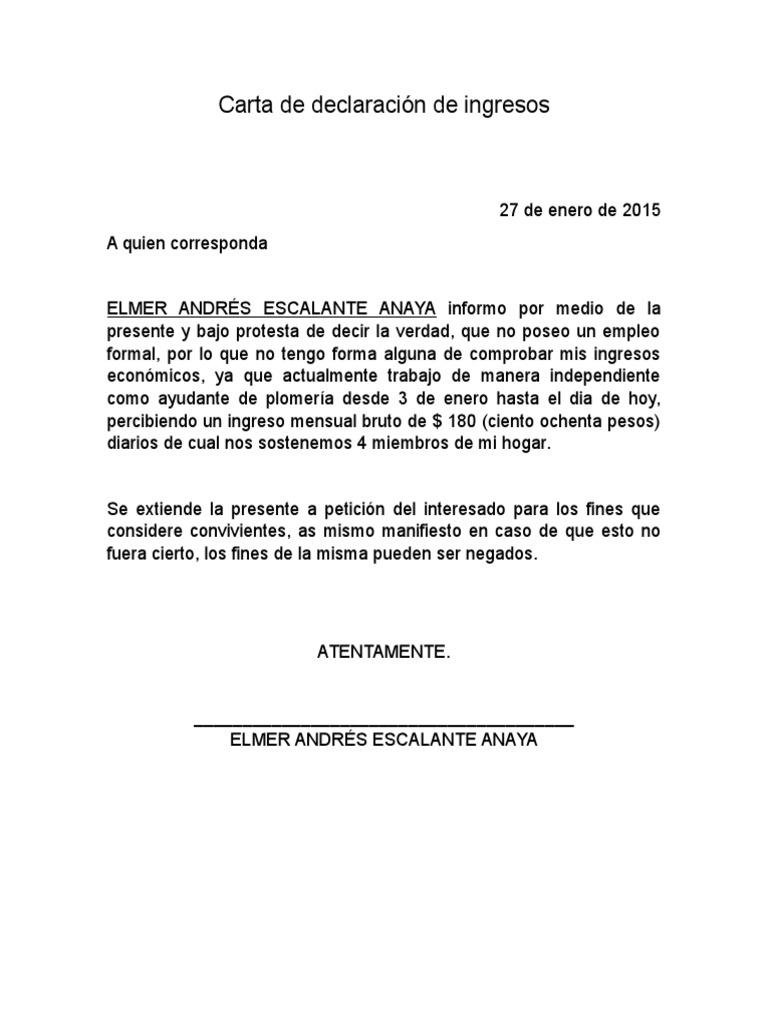 Carta De Trabajo Para Ingresos Carta de Declaración de ...