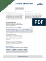 Ferritic Stainless Steel 1.4003 Datasheet