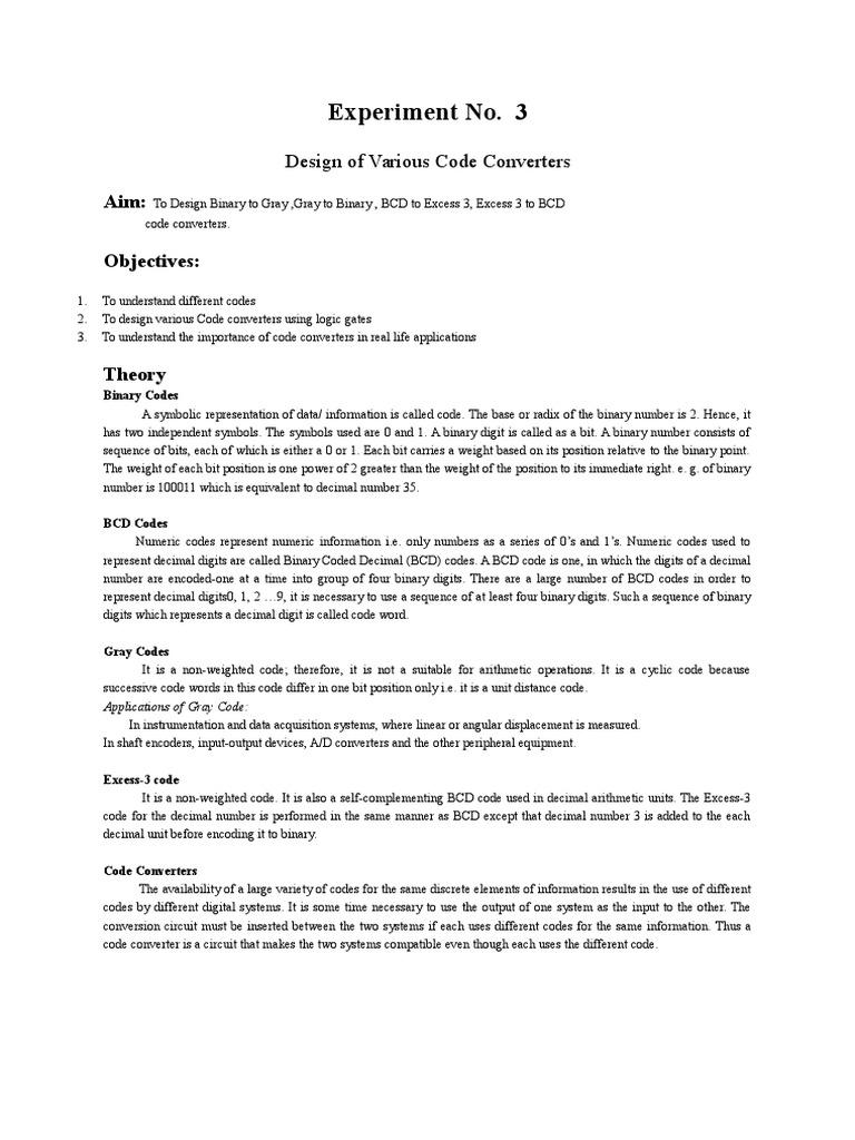 Dec Lab Manual Binary Coded Decimal Bit Bcd To Converter Data