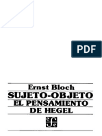Bloch - Sujeto-Objeto. El Pensamiento de Hegel