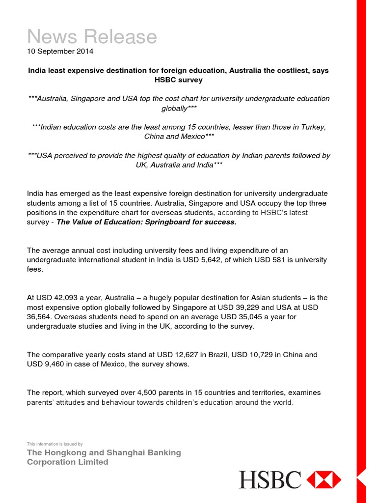 Press Release Value of Education Costs vs Quality | Hsbc