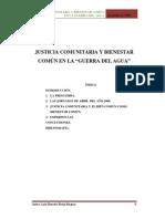 Justicia Comunitaria en la Guerra del Agua en Cochabamba-Bolivia