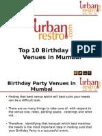 Top 10 Birthday Party Venues in Mumbai