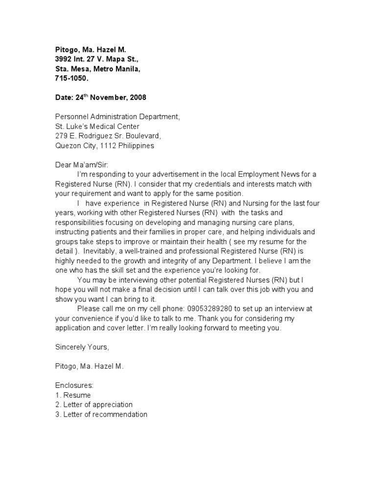 Sample application letter for Well written cover letters for job applications
