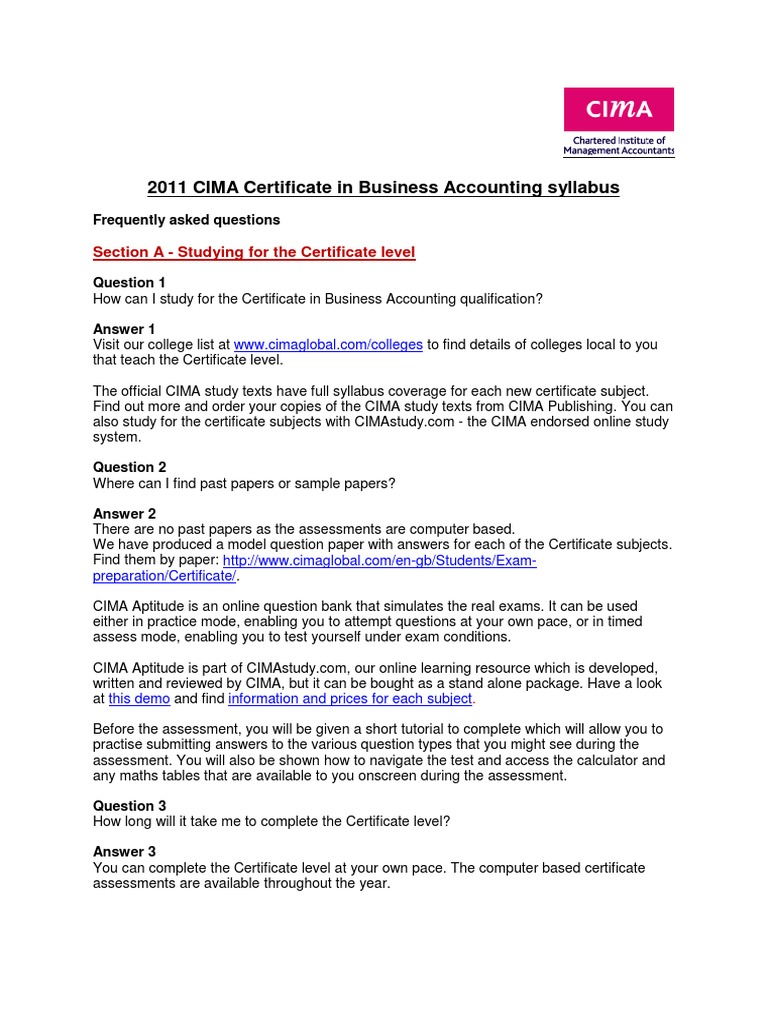 2011 Cima Certificate Business Accounting Syllabus Faqs Syllabus
