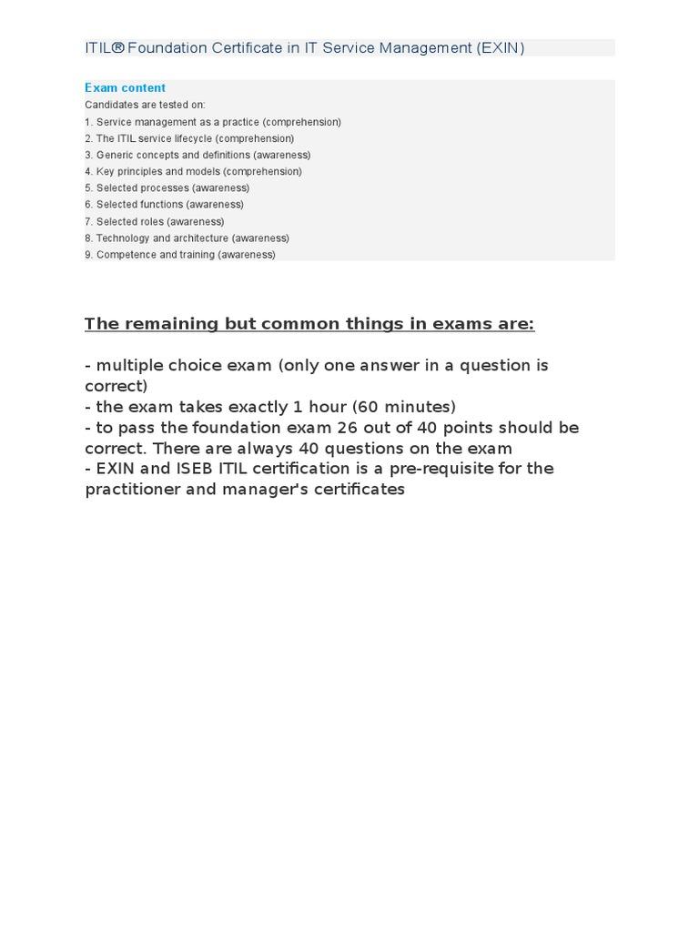 Itil exam content itil it service management xflitez Gallery