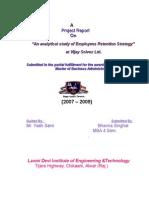 "Vijay Solvex PROJECT ""Retention Strategy"""