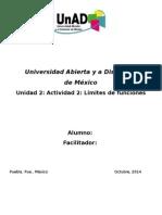Unidad 2 Actividad 2 Cálculo Diferencial