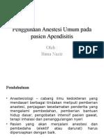 Penggunaan Anestesi Umum Pada Pasien Apendisitis