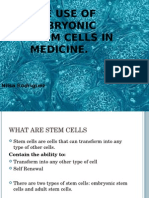 Power Point the Use of Embryonic Stem Cells in Medicine