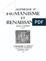 Bibliotheque d'Humanisme Et Renaissance Tome II - 1942