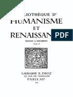 Bibliotheque d'Humanisme Et Renaissance Tome v - 1944