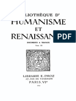 Bibliotheque d'Humanisme Et Renaissance Tome III - 1943
