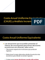 Costo Anual Uniforme Equivalente (CAUE)