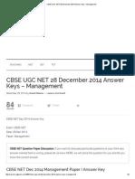 CBSE UGC NET 28 December 2014 Answer Keys – Management