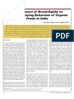 The Influence of Brand Equity on Consumer Buying Behaviour of Organic Food in India