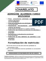 DATAS DE ADMISIÓN 2015/2016 (BACHARELATO)