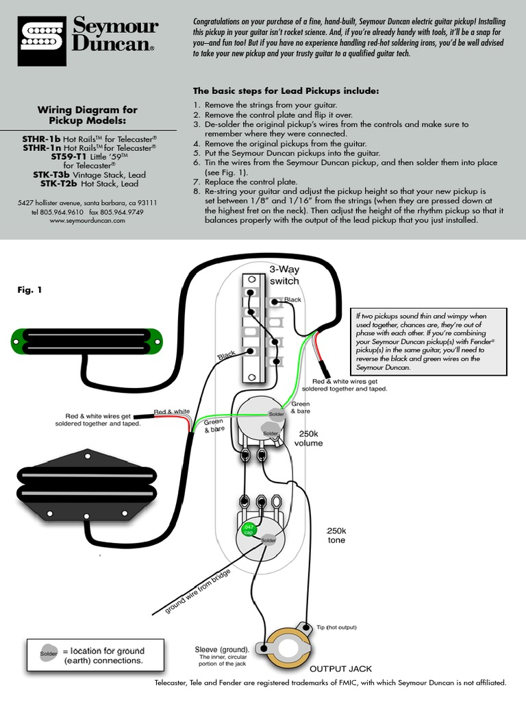 Seymour Duncan Tele Hot Rails Neck Wiring Diagram - Wiring Diagram ...