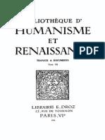 Bibliotheque d'Humanisme Et Renaissance Tome Vii - 1945
