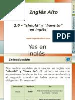 """2.6.- Diferencia Entre El Uso de Las Palabras """"Should"""" y """"Have to"""" en Inglés"""