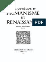 Bibliotheque d'Humanisme Et Renaissance Tome Xi Nos. 1-2-1949